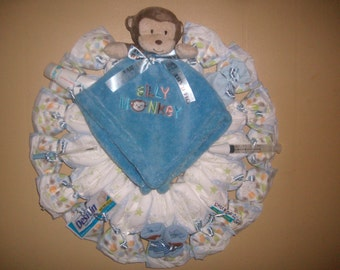 """Baby Boy Diaper Wreath with """"Silly Monkey"""" Lovey Security Blanket Baby Shower Gift or Centerpiece"""