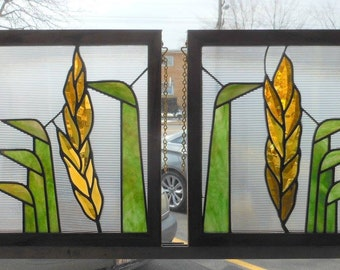Wheatleaves - Pair of Art Deco Stained Glass Windows