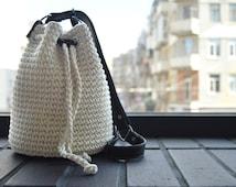 White crochet summer  bag, natural materials, knit shoulder bag
