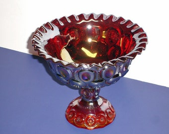 Moon and Stars Iridescent Carnival Glass Finish Amberina Ruffle Opalescent Compote Footed Base