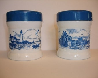 Milk glass and blue Canister with plastic lids Set of Two