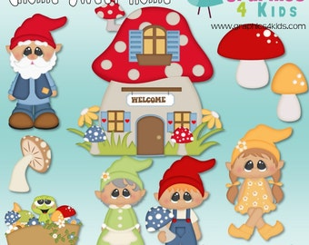 Gnome Sweet Home Digital Clipart - Clip art for scrapbooking, party invitations - Instant Download Clipart Commercial Use