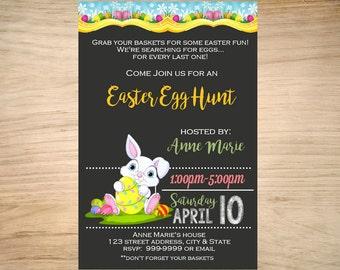 Easter invitation. Printable Easter invite. Personalized. Easter egg hunt invite. Chalkboard easter invitation.