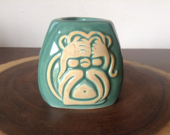 TURQUOISE 3 MONKEYS VASE Vintage Ceramic Vase No Evil