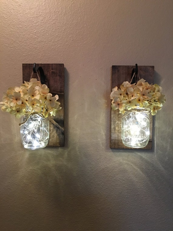 Hanging Wall Sconces With Pictures : Set of 2 Hanging Mason Jar Sconces Hydrangea Flowers Mason