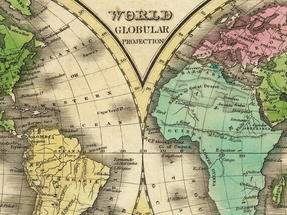 antique world map globular projection map world map poster wall world map antique map poster vintage map cp008