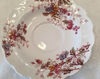 Booths Washington Plates~ Made in England ~ Set of Seven ~ Small Plate or Saucer ~ Pink Transferware ~ Multicolor ~ Vintage
