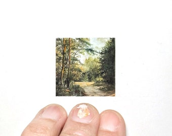 "Print of miniature painting of Forest Walk. 1 1/4"" x 1 1/4"" print of forest walk on 5"" x 5"" german etching paper"