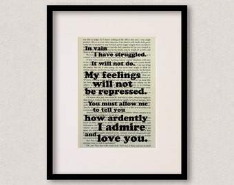 """Pride And Prejudice - Mr Darcy - Book Quote Print - Romantic Quote - Engagement Gift - Wedding Gift - """"In vain I have struggled"""""""