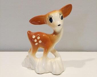 vintage ceramic deer figurine Japan retro