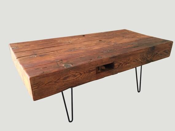 Reclaimed wood barn beam coffee table up cycled from for Wood beam coffee table