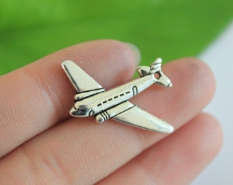 Own Charm ~Airplane Charms Antique Silver Tone Plane Travel 2 Sided Charm 25*31mm