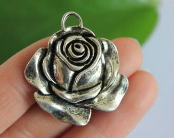 wholesale-5pcs  Silver Rose Necklace / Silver Chain / Rose pendant / Flower Necklace / Silver Flower 36*33mm
