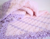 Baby Blanket - Asymmetric Purple Pink Square Crochet Baby Blanket Knit