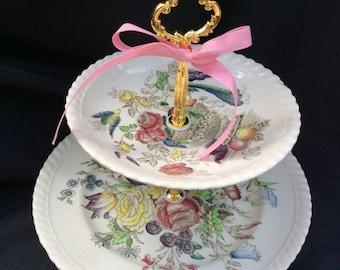 Wedding Cake Stand, 2 Tier Cake Stand, Brown Transware, Dessert Cake Stand, Cupcake Tower, Johnson Brothers China,