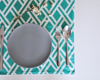 Set Of 2 Square Teal Green Geometric Diamond Print Fabric Placemats