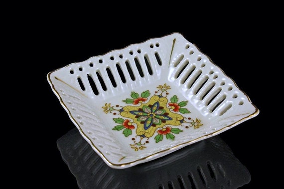 Square Reticulated Dish, Small, Porcelain, Made in Japan, White, Floral