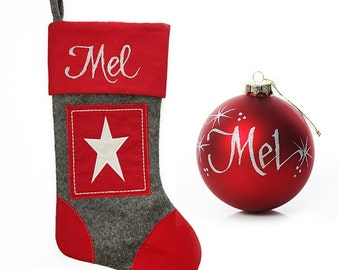 Personalised Grey and Red Star Felt Stocking and Bauble Pack