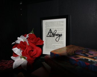 """Upcycled Harry Potter Book Page Hand-Painted """"Always"""""""