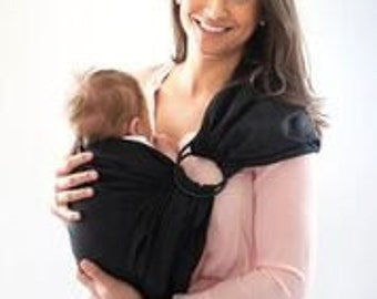 Linen Ring Sling, Baby Sling, Newborn Carrier, Black Baby Wrap
