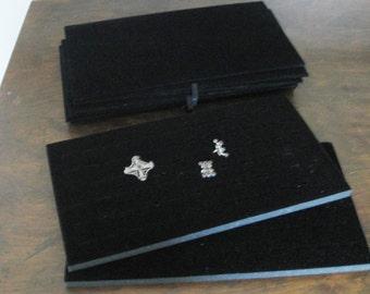 Jewelry Tray Inserts, black velvet, ring trays, ring tray inserts, flat black display pads, set of 11, jewelry storage, jewelry transport