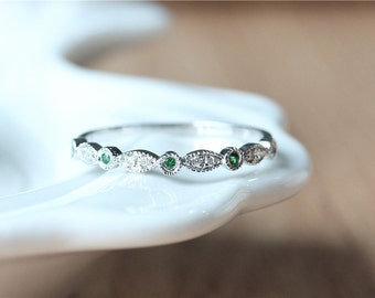 May Birthstone Band/Half eternity Emerald & diamond Band Rose Gold Emerald Band Half eternity Emerald Band/Emerald Ring/Mothers Ring