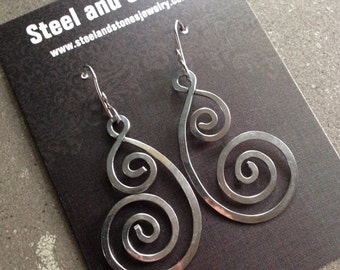 Hammered Stainless Steel Double Spiral Earrings