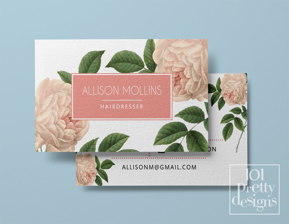 Vintage business card template printable business card designroses vintage business card template printable business card designroses business floral business card design botanical pink roses fbccfo Images