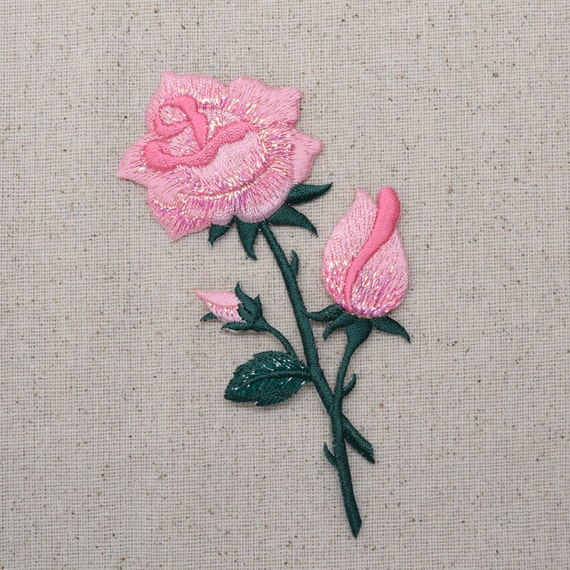 Pink rose buds on stem flower iron applique