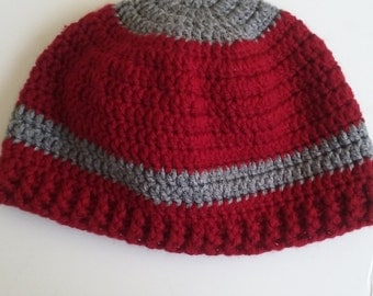 Men & women's beanie hat in cranberry red and gray