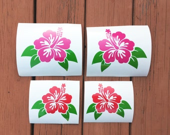 Tropical Flowers Decals Two Pack - Two Color Vinyl Decal, Laptop Decal, Car Sticker