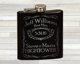 Groomsmen Flask - Wedding Flask - Groomsman Flasks -  Bridal Party - Wedding Gift - Personalized Flask