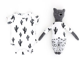 Matching Toy Bear and Baby Organic Cotton Short Sleeve Onesie in Cactus Print