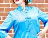 Aqua Blue Silk Shanghai Kimono from RCMooreVintage FREE SHIPPING vintage 1960 size 8