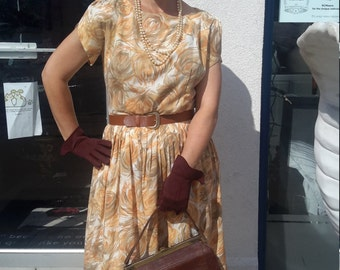 Beautiful vintage 1950 day dress in fall colors FREE SHIPPING from RCMooreVintage