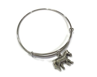 Zebra Charm Bracelet - Zebra Bangle - Silver Adjustable Charm Bangle Bracelet - Zebra Charm Bangle - Zebra Bracelet - Stacking Bangles