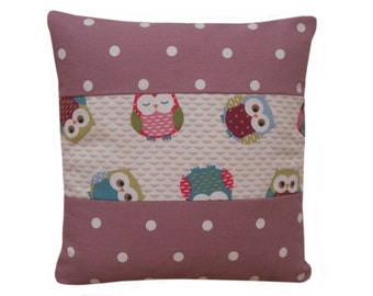 multi colour owl print cushion cover, owls cushion case, throw pillows, pillow covers, pillow case