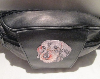 BLACK LEATHER Fanny Pack 9x6 with Dachshund