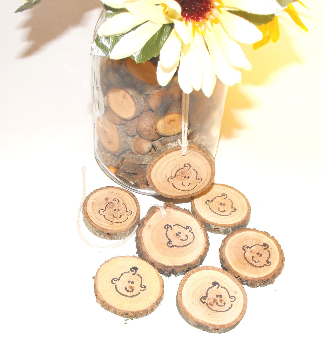 Woodland baby shower decorations face wood by