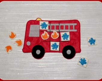 Red Fire Truck Engine Tic Tac Toe Game, Travel, Quiet, Birthday Party Favor Celebration Gift