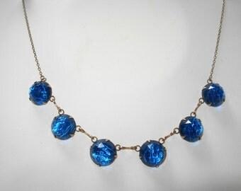 Vintage 1920s Art Deco Rolled Gold Blue Foil Glass Necklace - Signed L.H.
