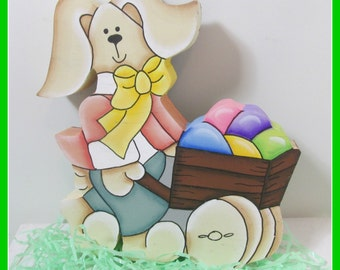 Bunny Pushing a Cart of Easter Eggs