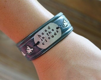 Head in the Clouds Wide Leather Cuff Bracelet for Women or Men - Custom Stamped Accent Charm on Handmade Blue Colored Leather Snap Closure
