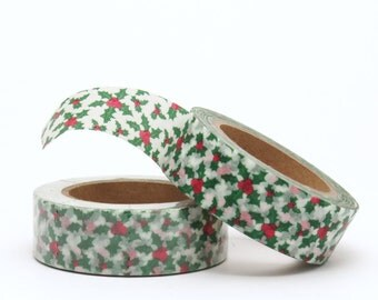 Christmas Washi Tape Holly Red and Green Floral