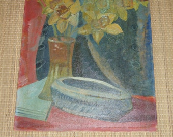 Vintage 1950's - 20 x 16 Still life of daffodils Oil on Canvas board