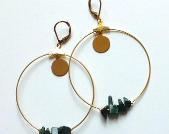 Ears/Creole semi-precious Malachite earrings
