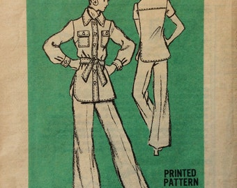 Mail order M402 vintage 1970's misses shirt jacket and pants sewing pattern size 16 bust 38 waist 29
