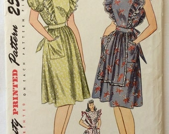 Simplicity 2038 misses dress or pinafore size 12 bust 30 vintage 1940's sewing pattern