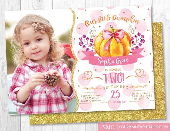 Pumpkin Birthday Invitation Pink and Gold Glitter Sparkle • 1st Fall Autumn Halloween Girl Pumpkin First Birthday Invite Printable