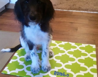 Pet Bowl Mat || Personalized Puppy Placemat || Dog Gift || Stylish Blue Green Quatrefoil || Feeding Station || Three Spoiled Dogs
